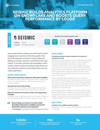 Seismic Builds Analytics Platform on Snowflake and Boosts Query Performance by 1,000x
