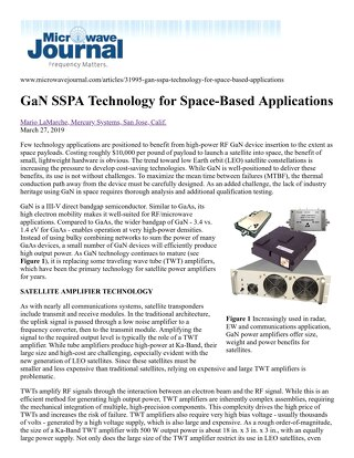 GaN SSPA Technology for Space-Based Applications