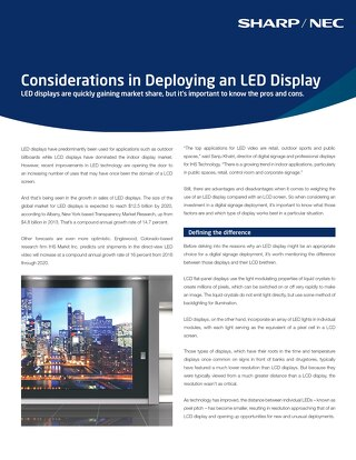 Considerations in Deploying an LED Display-NEC