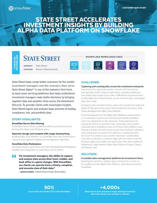 State Street Accelerates Investment Insights by Building Alpha Data Platform on Snowflake