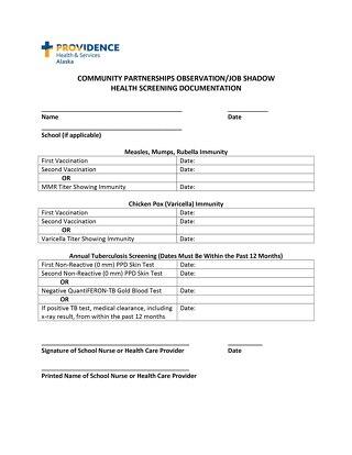 Health Screening Documentation