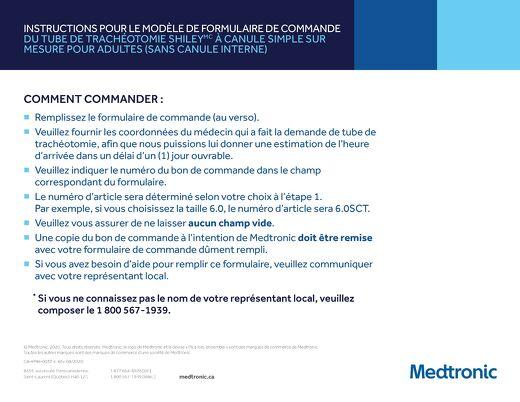Formulaire de commande du tube de trachéotomie Shiley à canule simple sur mesure - néonatale et pédiatrique (sans canule interne)