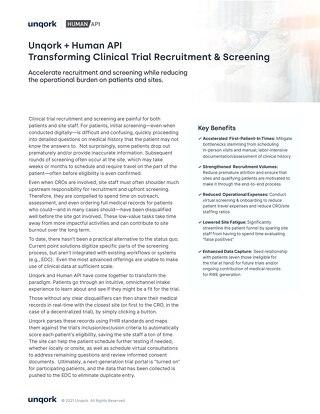Unqork + Human API: Transforming Clinical Trial Recruitment & Screening
