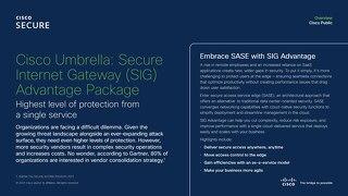 Cisco Umbrella: Secure Internet Gateway (SIG) Advantage Package