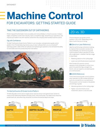 Getting Started with Trimble Machine Control for Excavators Datasheet - English