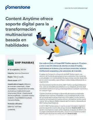 Caso de éxito BNP Paribas: Content Anytime ofrece soporte digital para la transformación multinacional basada en habilidades