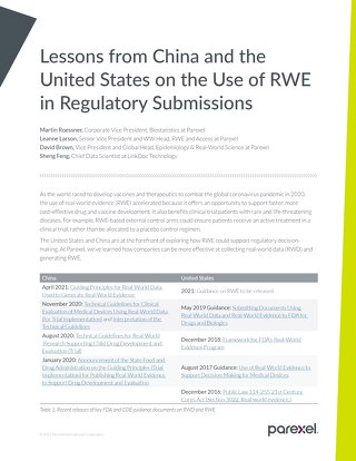 Lessons from China and the United States on the use of RWE in regulatory submissions