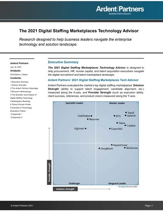 Ardent Partners - 2021 Digital Staffing Marketplaces Technology Advisor - Talmix Profile
