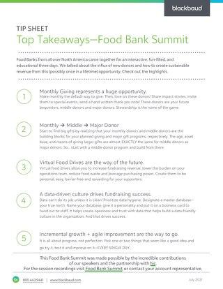 Food Bank Summit Takeaways