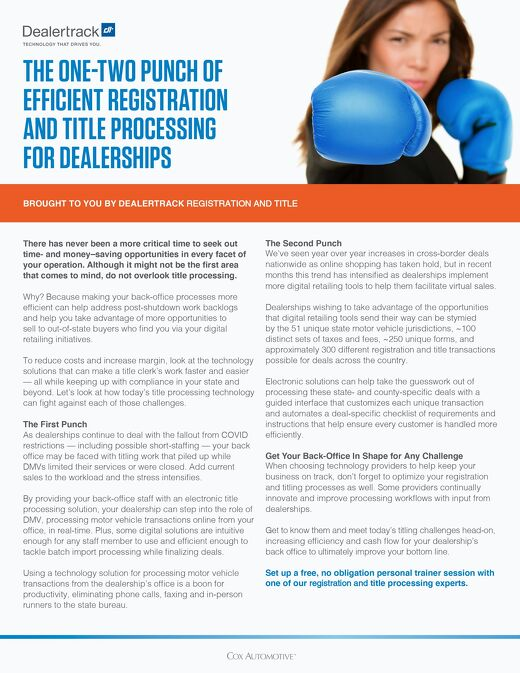 The One-Two Punch of Efficient Registration and Title Processing for Dealerships