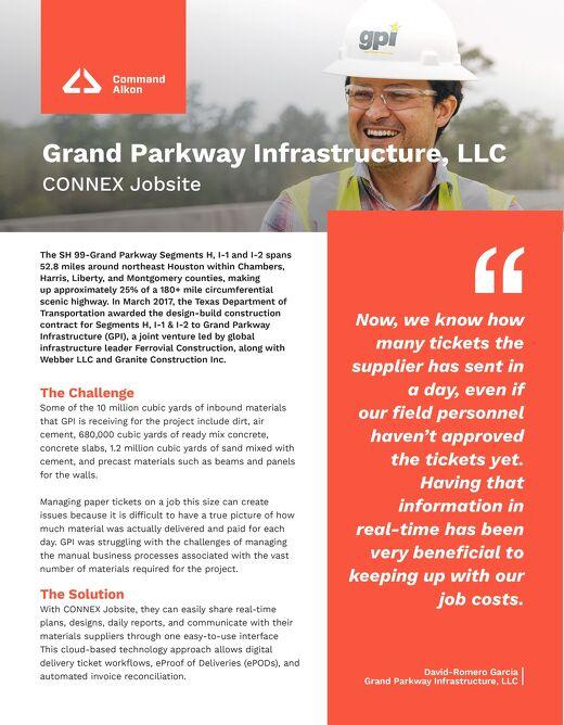 Grand Parkway Infrastructure, LLC CONNEX Jobsite Case Study