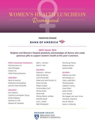 2021 Women's Health Luncheon Honor Roll