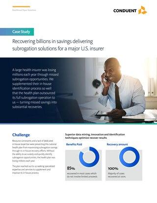 Recovering billions in savings delivering subrogation solutions for a major U.S. insurer