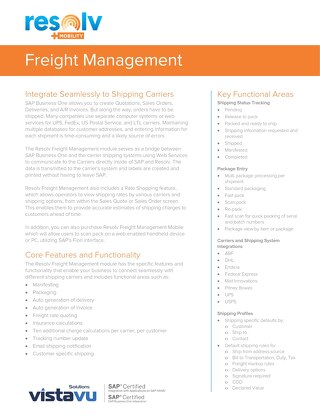 Freight Management | Resolv Module Overview