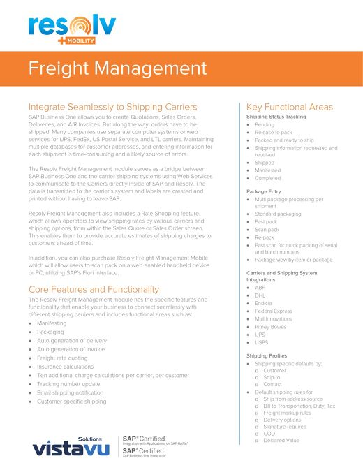 Freight Management   Resolv Module Overview
