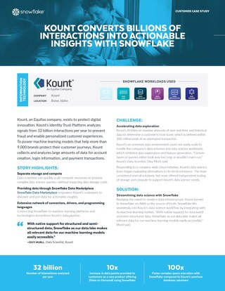 Kount Converts Billions of Interactions Into Actionable Insights With Snowflake