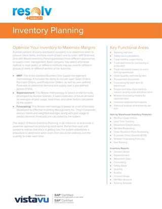 Inventory Planning | Resolv Module Overview