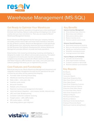 Warehouse Management (MS - SQL) | Resolv Module Overview