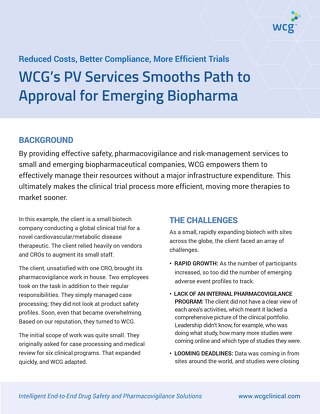 WCG's PV Services Smooths Path to Approval for Emerging Biopharma