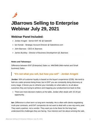JBarrows Selling to Enterprise Webinar July 29 2021
