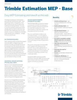 Trimble Estimation MEP - Base Datasheet