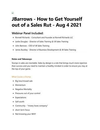 [Webinar Notes] JBarrows Webinar - Aug 4 2021