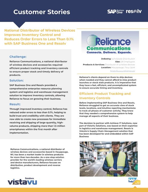 Reliance Communications   National Distributor Improves Inventory Control and Reduces Order Errors