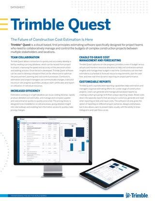 Trimble Quest Estimating Solution Sheet