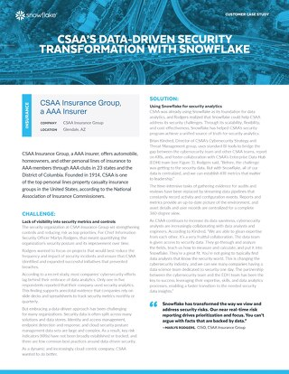 CSAA's Data-Driven Security Transformation With Snowflake