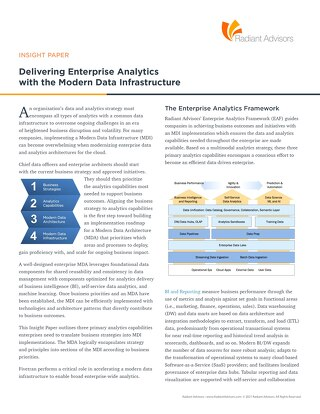 Delivering Enterprise Analytics with the Modern Data Infrastructure
