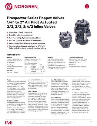 Prospector Series Poppet Valves Air Pilot Actuated