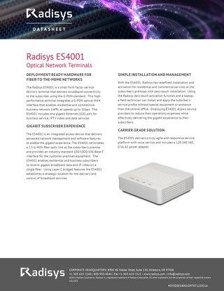 Radisys ES4001 Optical Network Terminals