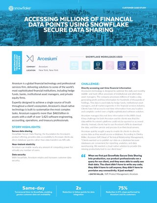 Accessing Millions of Financial Data Points Using Snowflake Secure Data Sharing