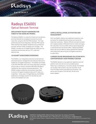 Radisys ES6001 Optical Network Terminal