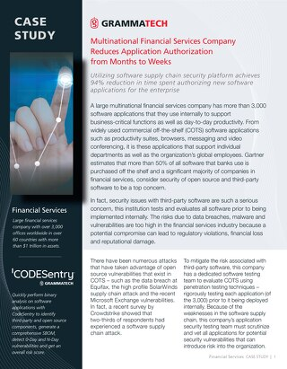 CodeSentry Financial Services Case Study