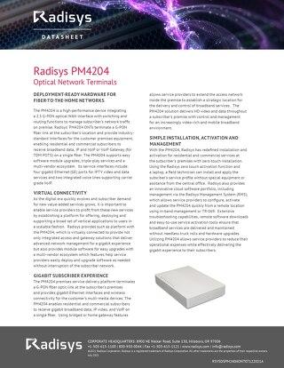 Radisys PM4204 Optical Network Terminals