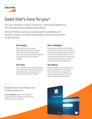 Discover Debit Solution Sheet for Credit Unions