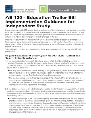 AB 130 – Education Trailer Bill: Implementation Guidance for Independent Study