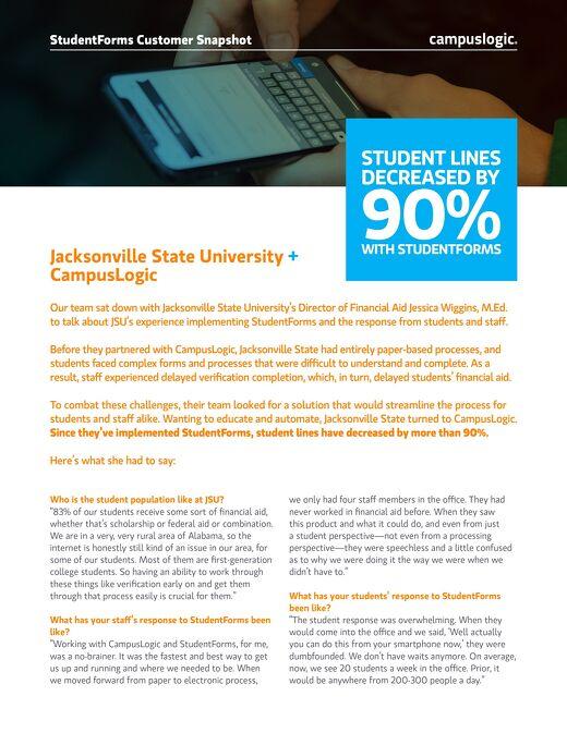 Jacksonville State University StudentForms Snapshot
