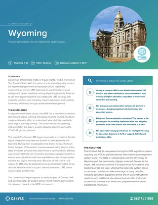 Wyoming: Providing Equitable Access Statewide With Canvas