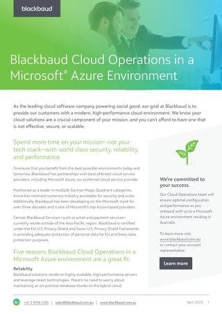 Blackbaud Cloud Operations in a Microsoft Azure Environment