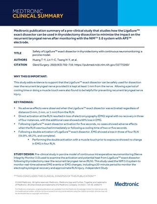LigaSure™ exact NIM Clinical Summary - Huang