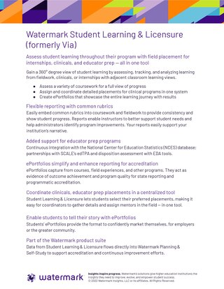 Watermark Student Learning & Licensure Flyer