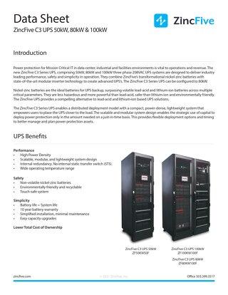 ZincFive C3 Series UPS