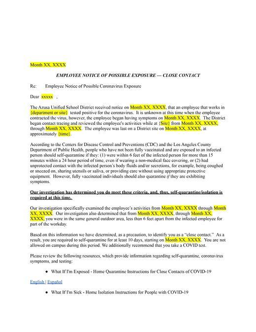 Azusa USD Staff Exposure Letter