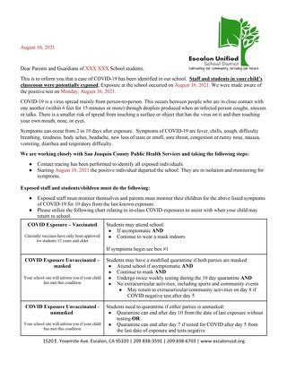 Escalon Unified Exposure / No Exposure Letters