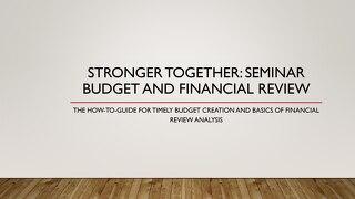 Webinar: Budgets & Financials