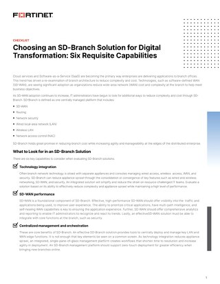 Choosing an SD-Branch Solution for Digital Transformation: Six Requisite Capabilities