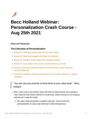 Becc Holland Webinar: Personalization Crash Course - Aug 25th 2021