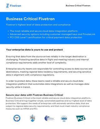 Fivetran Business Critical Product Overview